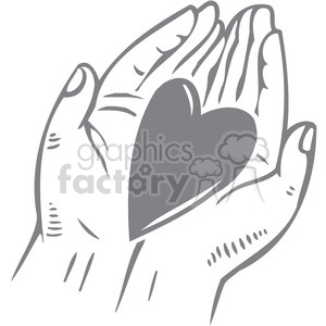 hearts in palm of hands clipart. Commercial use image # 386650