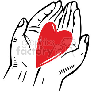 love Valentines hearts cartoon vector heart hands holding