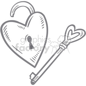love Valentines hearts cartoon vector lock heart key