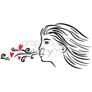 girl blowing a kiss clipart. Commercial use image # 386720