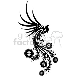black+white swirl designs tattoo Chinese Asian floral organic vinyl+ready flowers bird phoenix