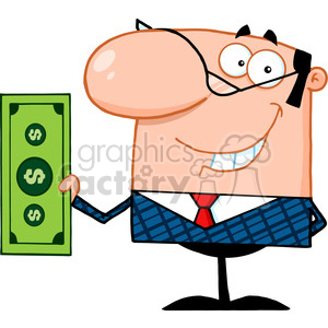 Royalty Free Smiling Business Manager Holding A Dollar Bill clipart. Royalty-free image # 386828