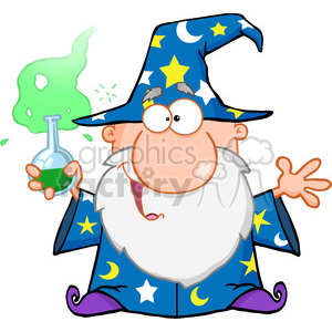 Royalty Free Crazy Wizard Holding A Green Magic Potion clipart. Royalty-free image # 386858
