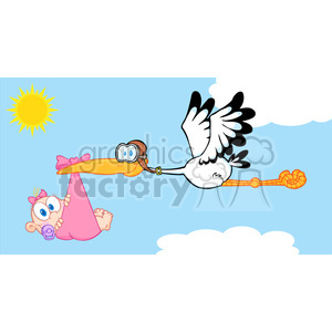 RF Stork Delivering A Newborn Baby Girl clipart. Commercial use image # 386868