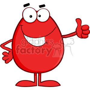 Clipart of Smiling Red Easter Egg Cartoon Character Showing Thumbs Up clipart. Royalty-free image # 386878