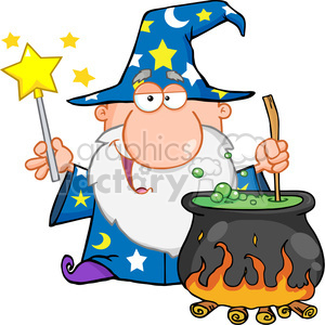 Royalty Free Funny Wizard Waving With Magic Wand And Preparing A Potion clipart. Royalty-free image # 386928
