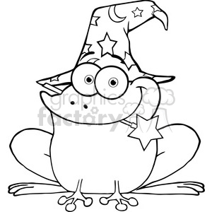 Clipart of Wizard Frog With A Magic Wand In Mouth