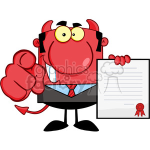 Royalty Free Smiling Devil Boss Holds Up A Contract And Hand Pointing Finger animation. Royalty-free animation # 386958