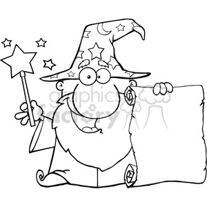 Clipart of Funny Wizard Waving With Magic Wand And Holding Up A Scroll clipart. Commercial use icon # 386978