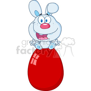Clipart of Cute Blue Bunny Sitting On An Easter Egg clipart. Royalty-free image # 386988