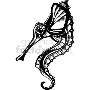 seahorse tattoo design clipart. Commercial use image # 387109