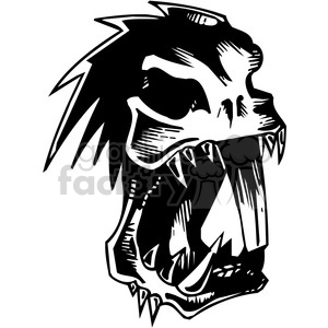 vinyl-ready black+white tattoo design animals creatures aggressive wild skull beaver mad