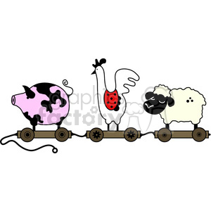 Pull Toy Farm Animal Train color clipart. Commercial use image # 387299