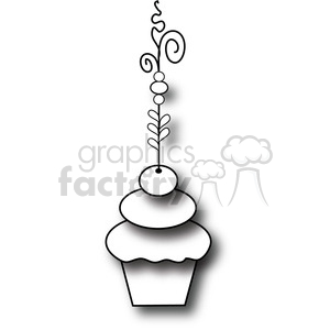 Cupcake Fancy BW clipart. Commercial use image # 387548