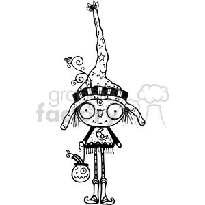 Bug Eyed Witch BW clipart. Commercial use image # 387558