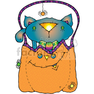Cat In Pumpkin COL clipart. Royalty-free image # 387653