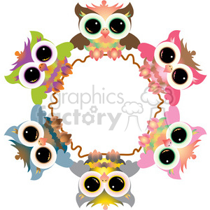cartoon cute owl owls wreath