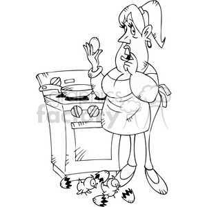 cartoon women boiling eggs character black white clipart. Commercial use image # 387776