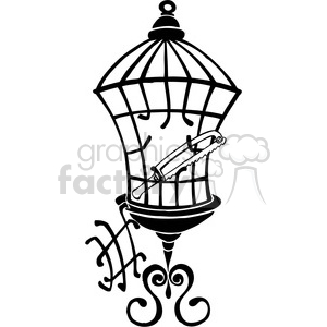 black and white saw cutting through a cage clipart. Royalty-free image # 387835