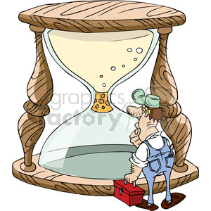 cartoon maintenance man trying to fix a plugged hourglass clipart. Royalty-free image # 387845