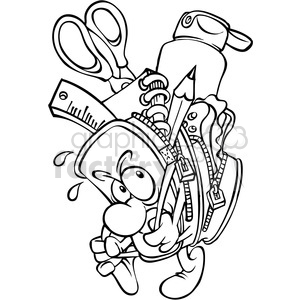 black and white cartoon backpack full of school supplies