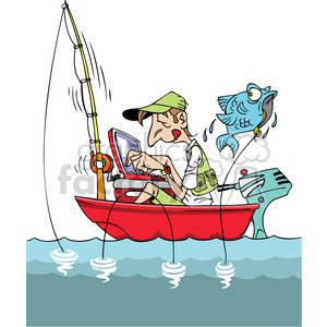 cartoon man fishing in a small boat with laptop