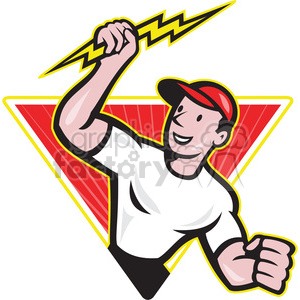 cartoon retro illustration  volt voltage electricity electric electrician guy worker man career lightning bolt
