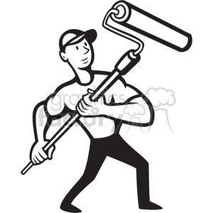 black and white handman paint roller front low animation. Royalty-free animation # 387889