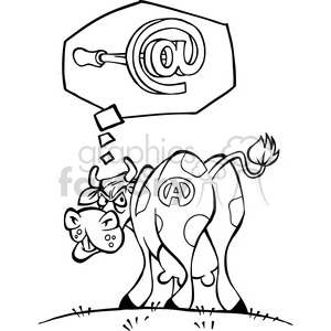 black white mad cow cartoon branded clipart. Commercial use image # 387911