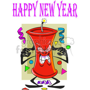 happy new year fire cracker cartoon clipart. Commercial use image # 387931