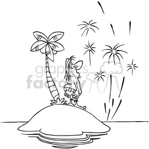 black white cartoon happy new year from island clipart. Royalty-free image # 387941