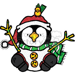 Penguin Snowman with santa hat clipart. Royalty-free image # 388015