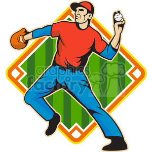 baseballfielder throwingball side DIAMOND clipart. Royalty-free image # 388084