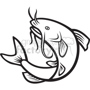 fish catfish mascot logo black+white