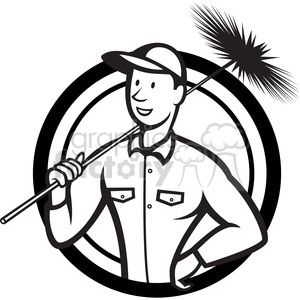 black and white chimney sweeper standing clipart. Commercial use image # 388144