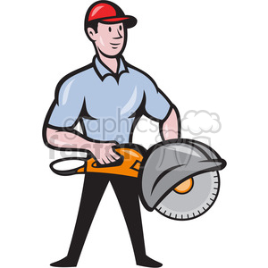 concrete sawing drilling worker clipart. Commercial use image # 388154