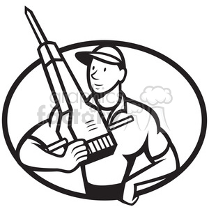 black and white construction worker jackhammer front clipart. Commercial use image # 388184