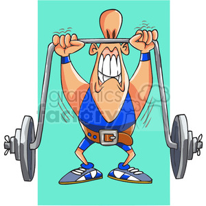 cartoon weight lifter clipart. Commercial use image # 388224