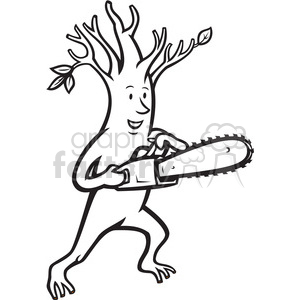 black and white tree man chainsaw