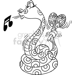 snake playing the maracas in black and white clipart. Royalty-free image # 388314