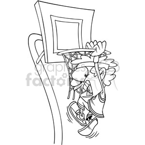 kid slam dunking a basketball in black and white clipart. Royalty-free image # 388334
