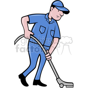 cleaner vacuuming the floor clipart. Royalty-free image # 388354