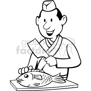 chef preparing fish black white image clipart. Royalty-free image # 388384