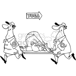 cartoon yoga guy stuck in a position clipart. Royalty-free image # 388392