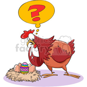 cartoon chicken confused about easter egg clipart. Royalty-free image # 388402
