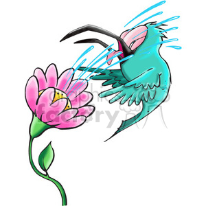 cartoon bird getting squirted by a flower clipart. Royalty-free image # 388412