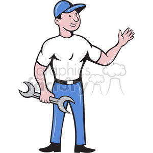 cartoon mechanic waving clipart. Royalty-free image # 388442
