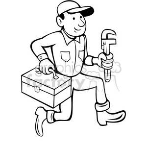 black and white plumber with toolbox clipart. Royalty-free image # 388472
