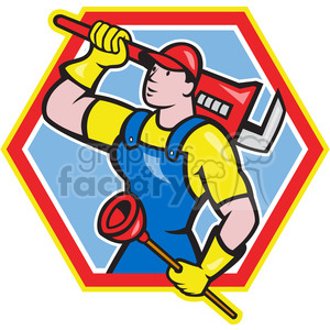 plumber carrying wrench and plunger looking up clipart. Commercial use image # 388632