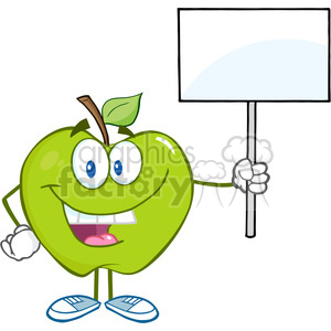 5771 Royalty Free Clip Art Happy Green Apple Cartoon Character Holding Up A Blank Sign clipart. Royalty-free image # 388682